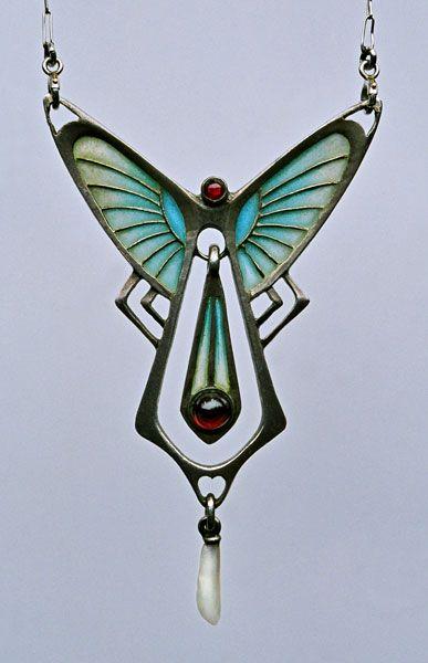 Unknown. Pendant. C.1900. Silver, plique-à-jour enamel, pearl. s.l.