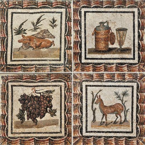 Roman mosaic depicting frapes, animals and wine. Bardo Museum, Tunisia