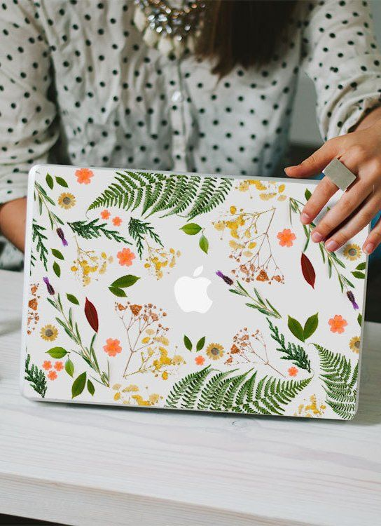 Flower Macbook Decal – Genuine Flower and Leaf Foliage MacBook Laptop Skin