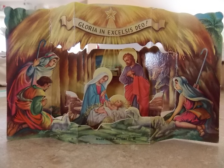 This is a diorama given to me about 1949 by the nuns, for Christmas, at St. Monicas' Catholic School. Wish we had more like it today.
