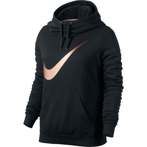 Nike™ Women's Club Graphic Funnel Hoodie- rose gold & black. Size large. Academy