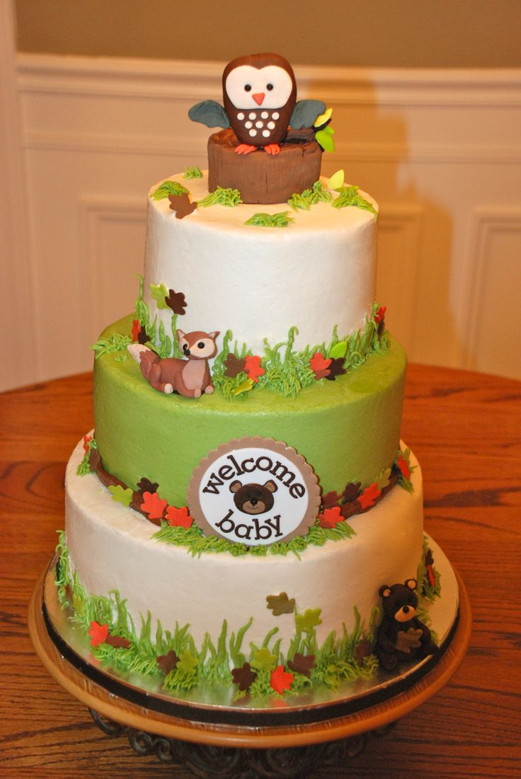 Baby shower cake themed after beby bedding. #wild animals #baby boy #carters  woodland animals bedding.
