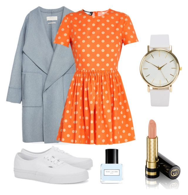 """""""orange spring"""" by sashokll on Polyvore featuring Zara, Jeremy Scott, Vans, NLY Accessories, Marc Jacobs, Gucci, orange and dress"""
