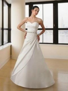 A-Linie Herzausschnitt Satiin Gestackt Schlicht Hochzeitskleid