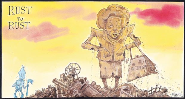 14 April 2013-Chris Riddell draws the Iron Lady and Thatcherism crumbling as they rust. David Cameron as the Tin Man trembles in the background even though he wields his sharp axe.