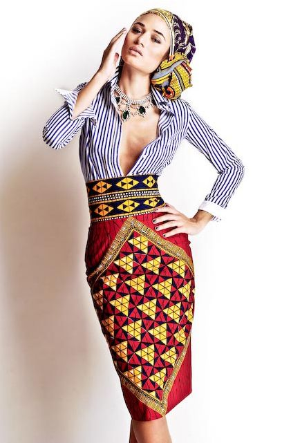 A lHaitienne: Must Admire: Stella Jean. LOVE the stripes with the pattern