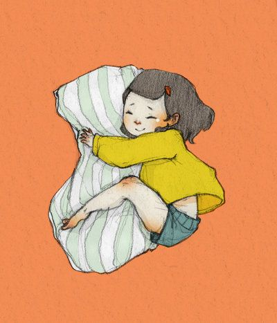 Pillow Hug Illustration - even more beautiful illustrations at the link.