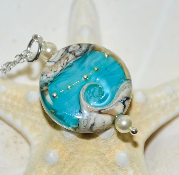 Leichte Türkis Ocean Halskette, Wave Halskette, Ocean Lampwork Halskette, Aqua Teal Welle, Swarovski Pe
