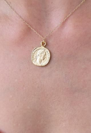 Gold Coin Necklace, Gold Pendant Necklace, Coin Jewelry