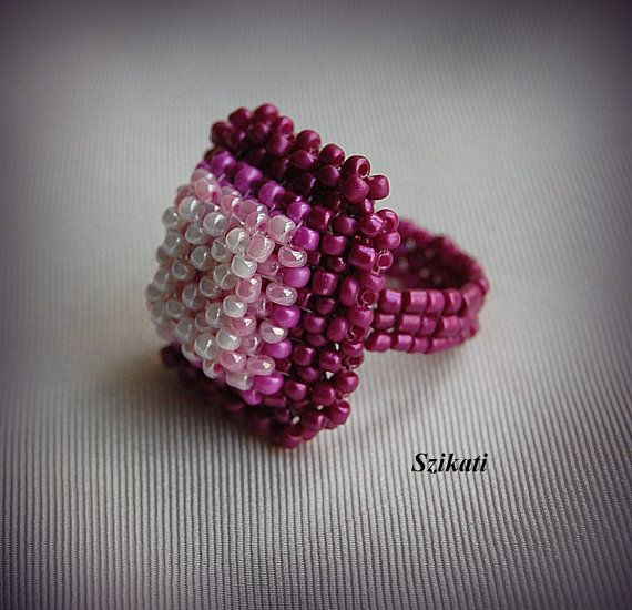 Beaded pink cocktail ring, seed bead ring, OOAK, unique gift for her
