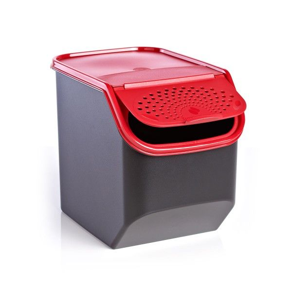 Modular Mates® Potato Smart Container - Black base/Popsicle cover:          Keep your potatoes fresh and firm with the all new Potato Smart Container. With its convenient design, the container's flip-front access panel has the ideal number of holes to ensure optimal air circulation. Plus, stack it neatly and efficiently with Modular Mates® containers, other Potato Smart Containers or the Onion & Garlic Smart Container without restricting air flow to potatoes.5½ qt./5.5 L.Available in Black…