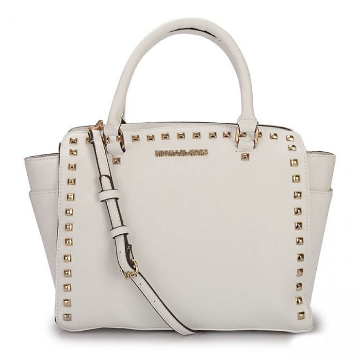 MICHAEL Michael Kors Large Selma Studded Saffiano Tote in White