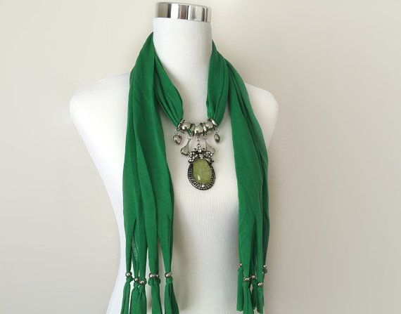 green jewelry scarf  necklace scarf  gift or for you by BienBijou