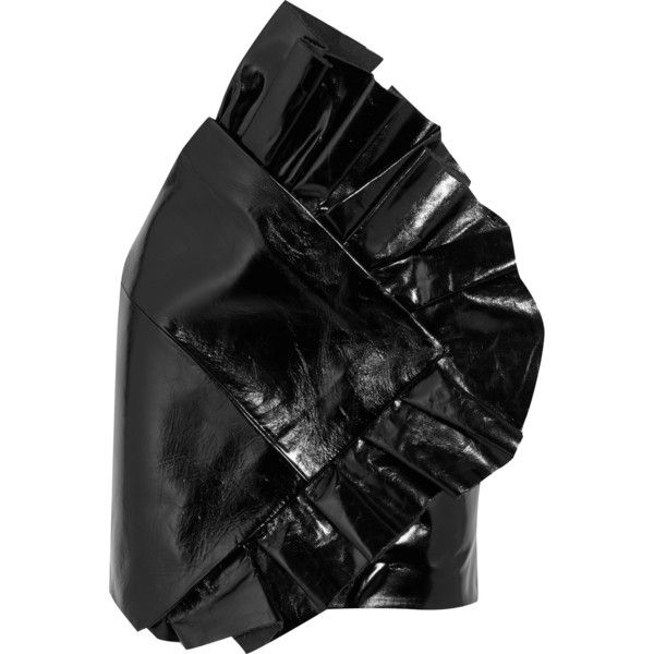 Saint Laurent Ruffled glossed textured-leather mini skirt ($4,250) ❤ liked on Polyvore featuring skirts, mini skirts, black, zipper mini skirt, shiny skirt, short frilly skirt, ruffled skirts and zip skirt