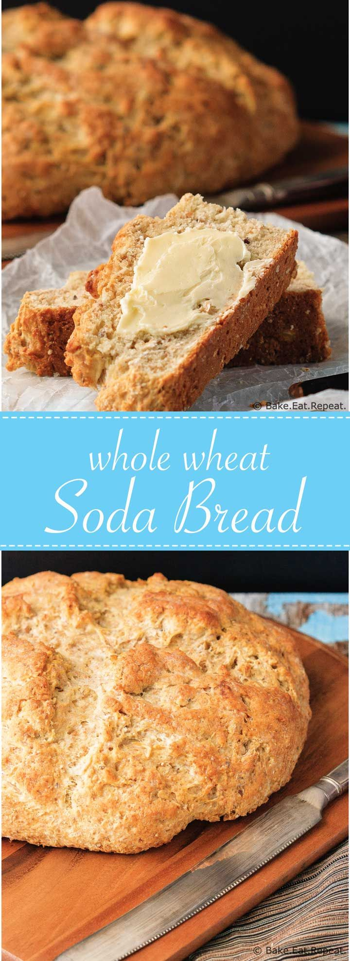 Whole Wheat Soda Bread - Quick and easy whole wheat soda bread - it mixes up in minutes and tastes fantastic!