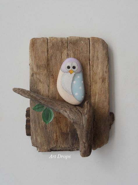 Art Drops: painted owl rock and wood Pinned by www.myowlbarn.com