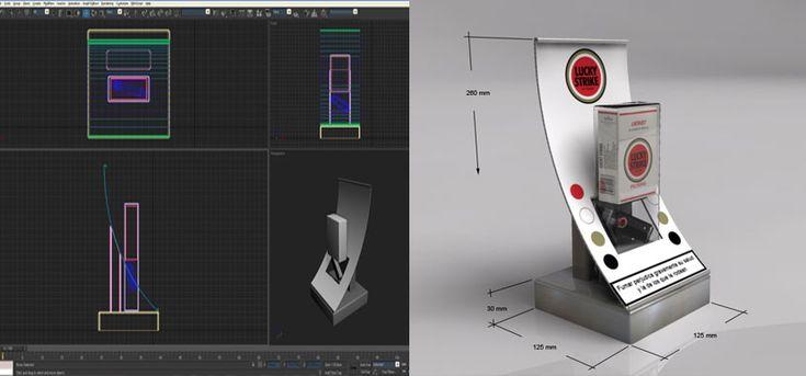 On Target diseña y fabrica un display para Lucky Strike. Diseño 3D.