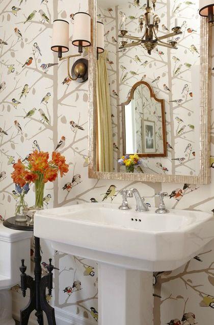 Sarah's House Season 4 bird wallpaper in powder room HGTVSarah Richardson, Birds Wallpapers, Sarahrichardson, Guest Bath, Powderroom, Sarah House, Sarahs House, Powder Rooms, Bathroom Wallpapers