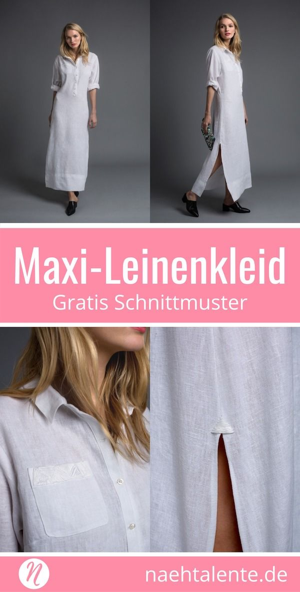 Leinenkleid - langes Kleid mit seitlichen Schlitzen Gr. 36/38 und 40 ...