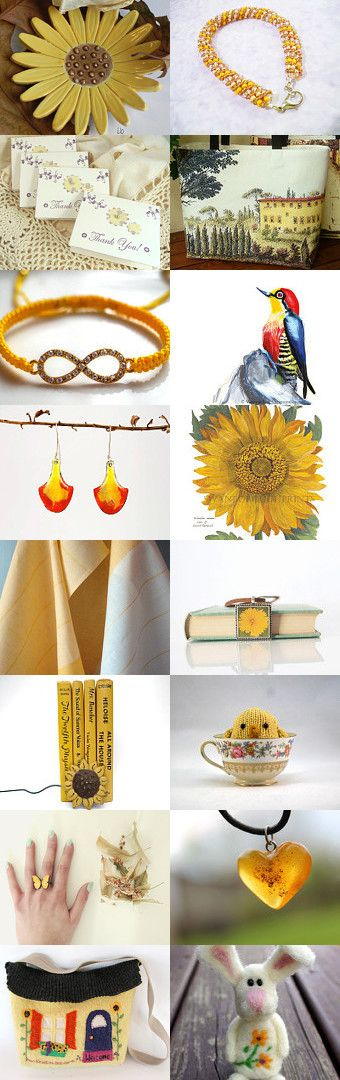 Sunny and Warmer Days by gclasergraphics on Etsy--art bracelet bunny ceramic dish dish towels earrings flowers handbag homespunsociety knit bird necklace ring spsteam thank you cards tote bag vintage books weekendgame105 yellow
