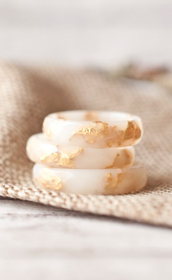 White Resin Ring With Gold Flakes