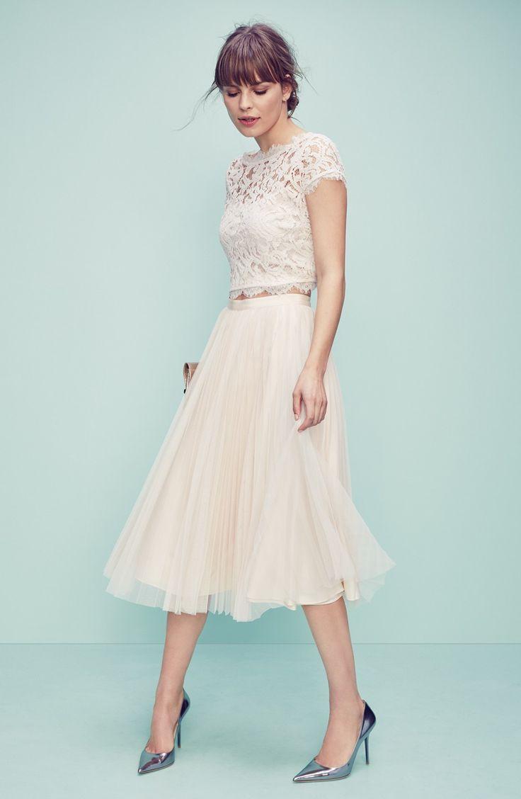 Adrianna Papell Lace Crop Top | Outfit hochzeit, Hochzeit ...
