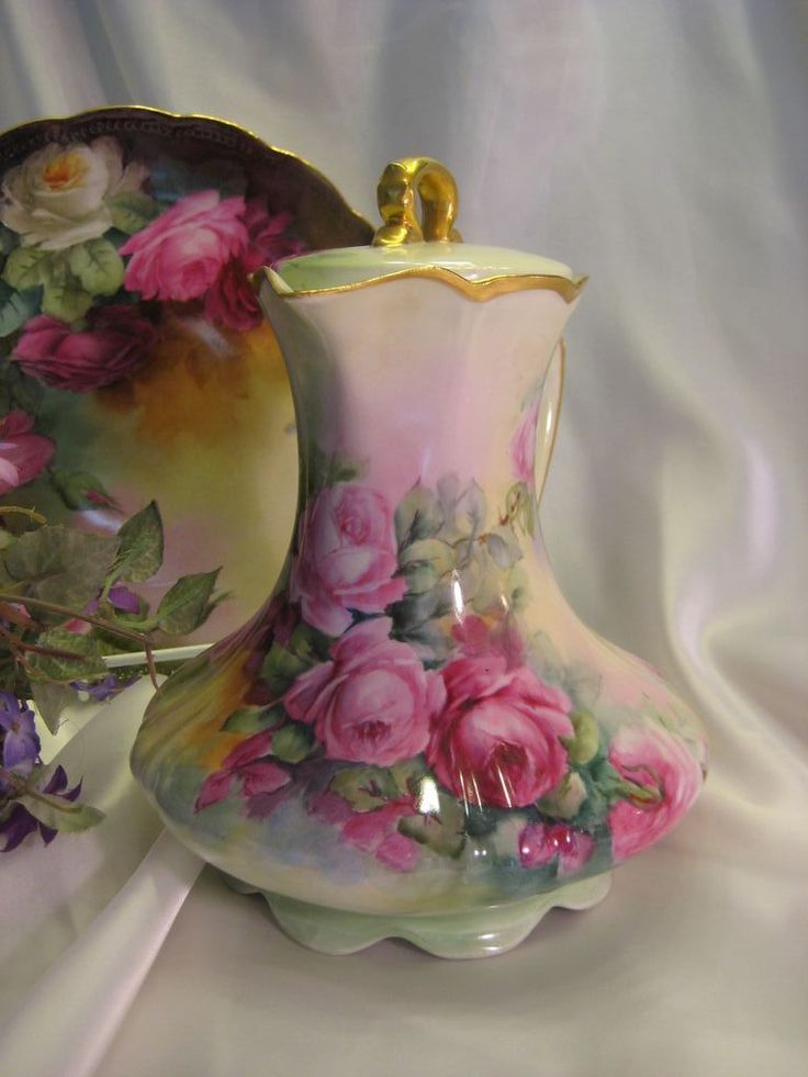 Victorian Roses CHOCOLATE COCOA POT Antique Limoges France from oldbeginningsantiques on Ruby Lane