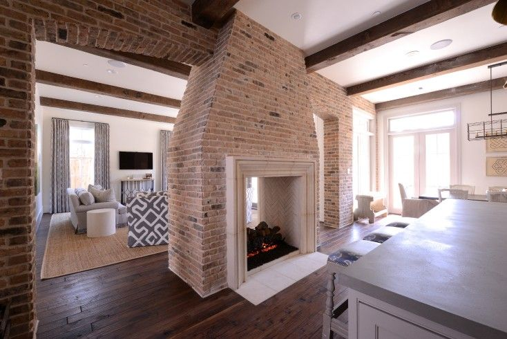 Multi Sided Fireplace, Transitional, Kitchen, Munger Interiors