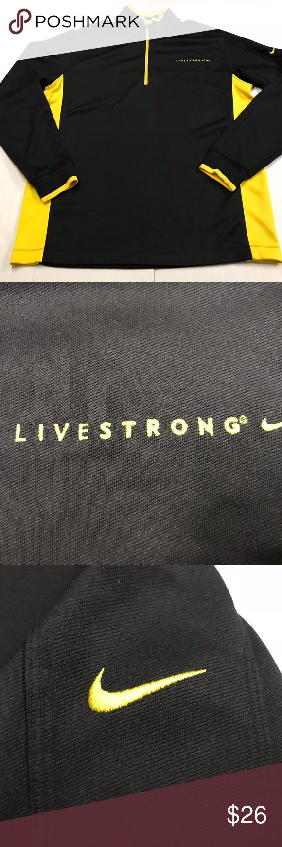 Nike LiveStrong 1/4 zip Nike Fit/Dri Fit Pullover APPROXIMATE MEASUREMENTS LAYING FLAT IN INCHES:  width:23.5 length:29.5  small place with a couple snags can be seen in the last picture Nike Jackets & Coats Lightweight & Shirt Jackets