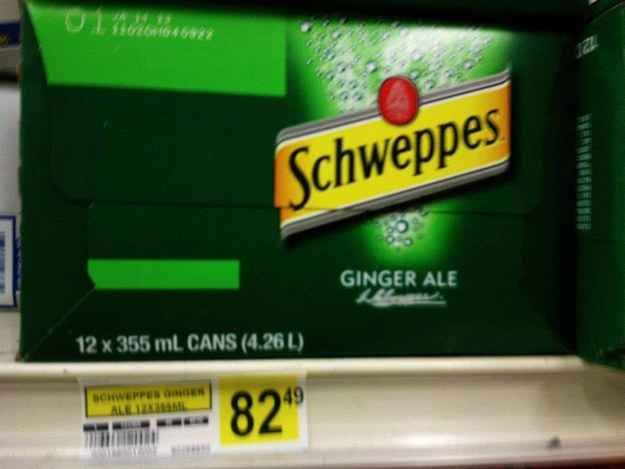 A 12-pack of Shweppes: $82.49