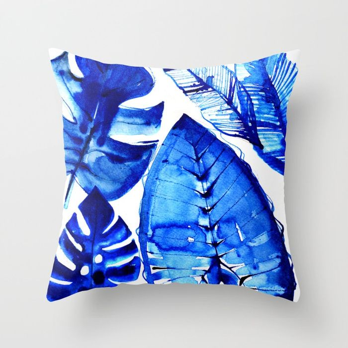 Jungle Blues Throw Pillow by
