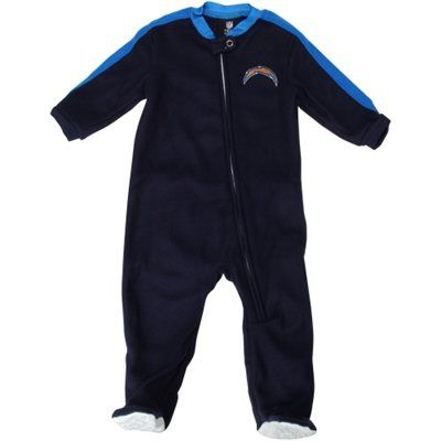 San Diego Chargers Newborn Color-Blocked Full Zip Blanket Sleeper - Navy Blue