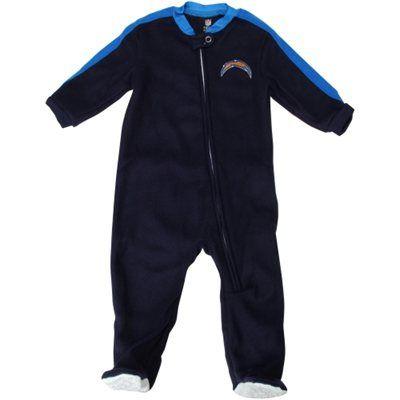 San Diego Chargers Newborn Color-Blocked Full Zip Blanket Sleeper - Navy Blue