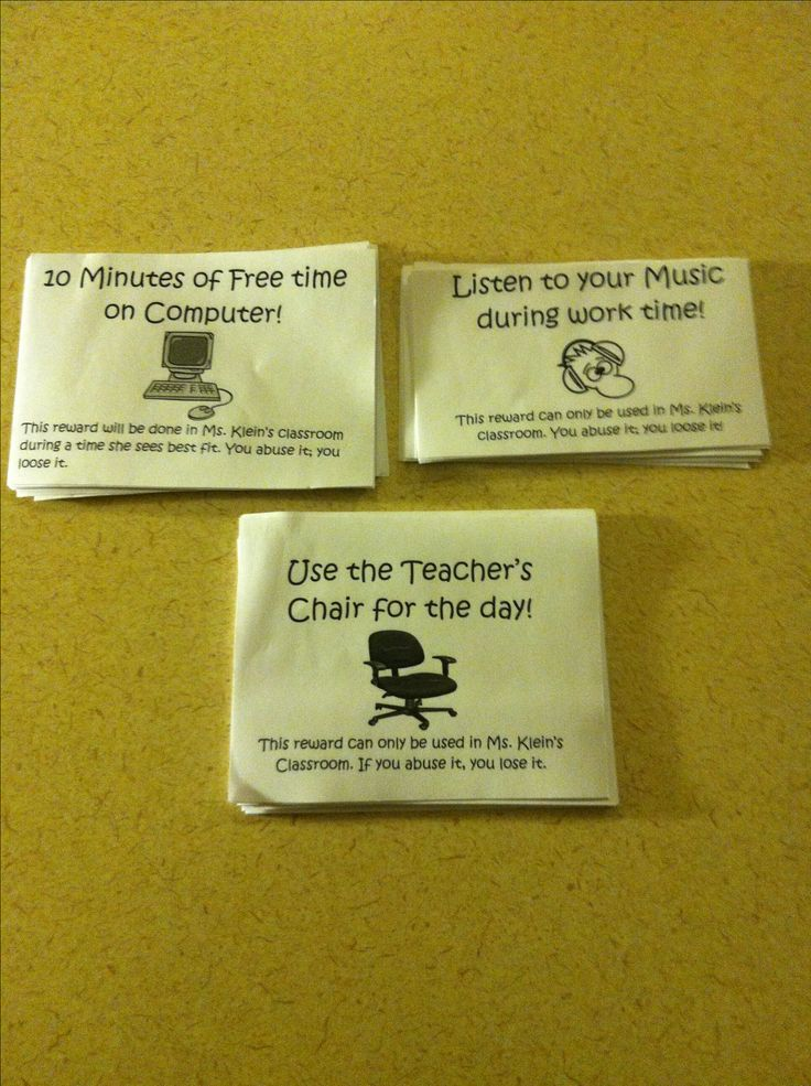 Incentives for my middle school students as a part of my classroom management. Free and easy to make!