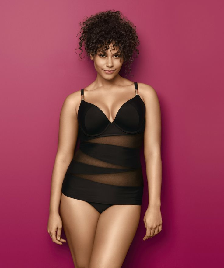 Illusion Swim Tank With Built in Plunge Bra. Turn heads when you hit the beach in this sexy illusion swim tank with our famous #Cacique support! #LaneBryant