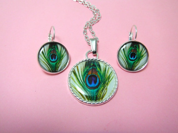 Matching Set Peacock Earrings And Pendant In by TheSmileEmporium, $27.00