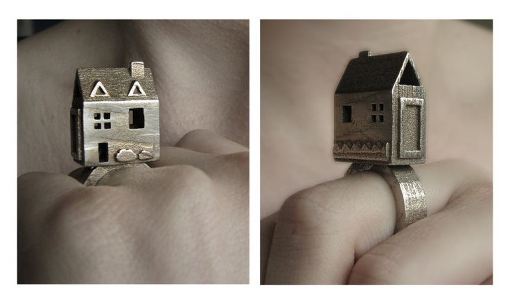 Doll House Ring - Stainless Steel Jewelry - Pre Colonial House - inspired by Jewish Wedding Rings - Statement ring.