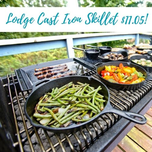 10.5 Inch Pre-Seasoned Lodge Cast Iron Grill Pan only $11.05!