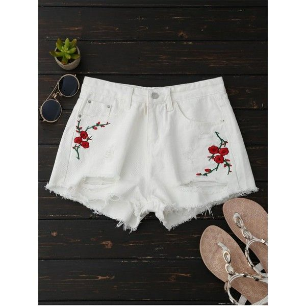 Embroidered Flower Ripped Hot Denim Shorts White (60 SAR) ❤ liked on Polyvore featuring shorts, jean shorts, distressed denim shorts, destroyed denim shorts, short jean shorts and white denim shorts