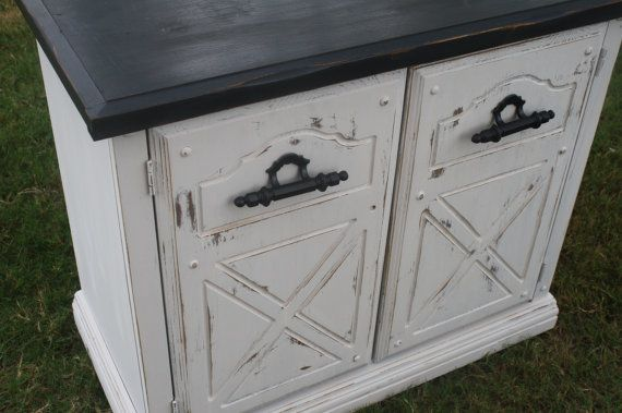 SOLD  Vintage Ivory and Black Buffet Table by TheLacyPeacock, $130.00