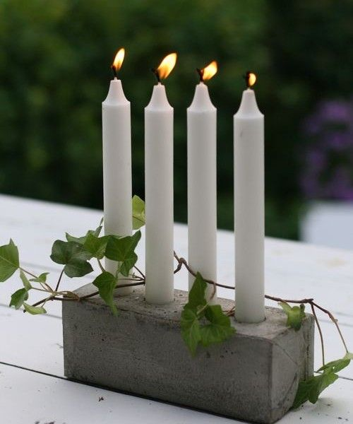 Christmas: candle holder in concrete