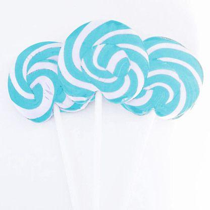 We sell big 8cm handmade light blue lollipops that taste delicious. Custom printing. Fast, flat-rate shipping across Australia