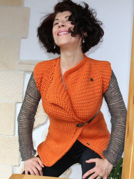 maglione gile cardigan lana e mohair  uncinetto di PaolaCollection