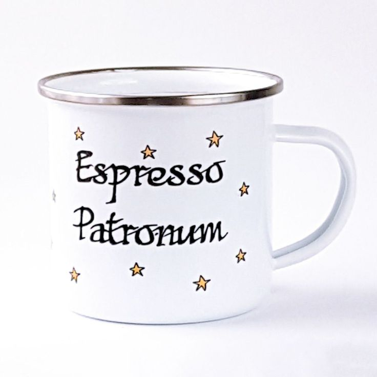 The perfect mug for bookworms who love books and coffee with a bit of magic! What could be better than snuggling up with a warm cup of coffee and being transported to a magical world within a book! The design includes a mix of Latin and a coffee related word (an incantation spell) with mustard/yellow stars on a white enamel mug with a silver coloured trim. Approximate sizing: Height 8cm, Diameter 8.6cm - holds approximately 10oz. The design has been printed, pressed by a high heat and is...