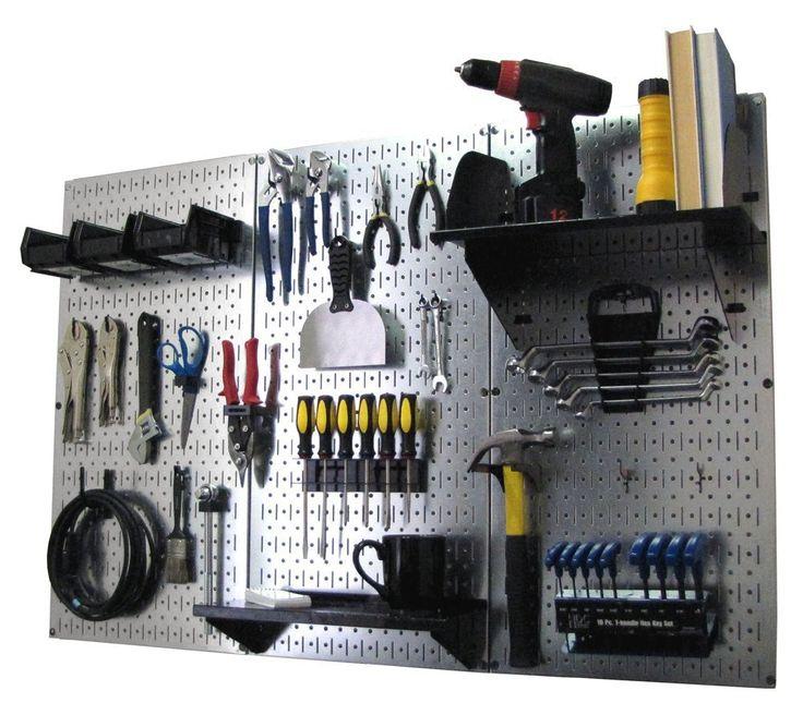 Wall Control Storage Systems - 4ft Metal Pegboard Standard Tool Storage Kit - Metallic Toolboard with Hooks, $139.99 (http://www.wallcontrol.com/4ft-metal-pegboard-standard-tool-storage-kit-metallic-toolboard-black-hooks/)