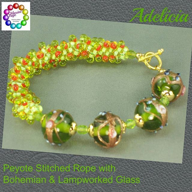 4 x approx 11 x 12mm lampworked glass beads in transparent chartreuse green with gold dust around their centre which features raised spots of dusty blue and mauve.  They are highlighted with gold plated beadcaps and separated by transparent Peridot green crystal.  The peyote stitch rope bracelet is very fluid.  https://www.maxinefaye.com.au/product-category/bracelets/