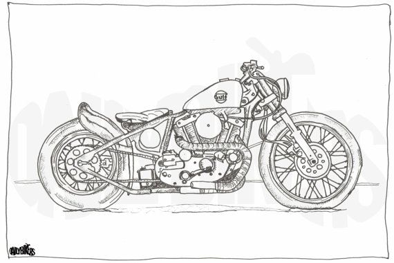 moto harley dessin