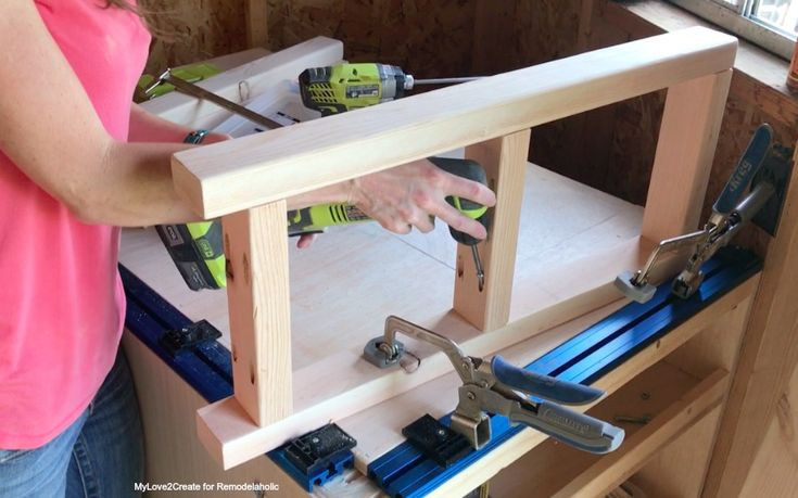 DIY Modern Rustic Console Table, Use A Right Angle Drill For Center Rail, MyLove2Create