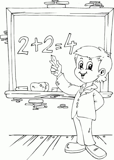 schoolboy adding on chalkboard coloring page