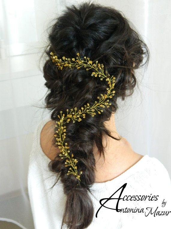 Vid de pelo nupcial, Tiara de la boda, venda de la boda, cristal larga pieza, boda guirnalda de cabello, bohemio casco, accesorio del pelo de la boda